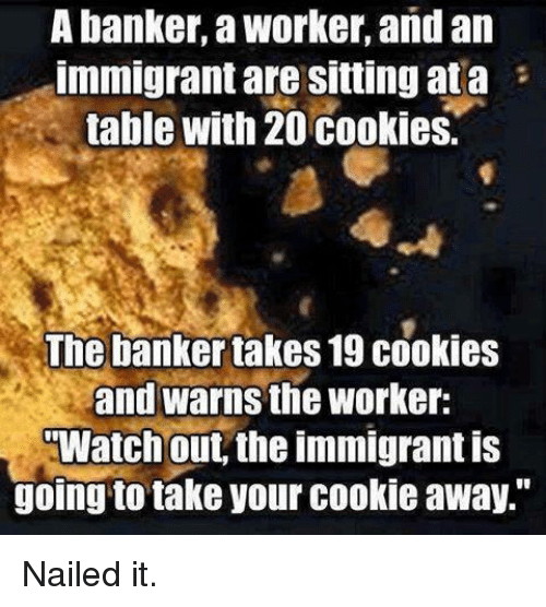 "Cookies, Memes, and Watch Out: A banker, a Worker, and an  Immigrant are Sitting ata  table with 20 cookies.  The banker takes19 cookies  and warns the Worker:  Watch out, the immigrant is  going to take your cookie away."" Nailed it."