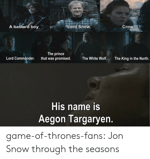 Game of Thrones, Prince, and Tumblr: A bastard boy.  Lord Snow.  Crow  The prince  that was promised.  Lord Commander.  The White Wolf.  The King in the North.  His name is  Aegon Targaryen. game-of-thrones-fans:  Jon Snow through the seasons