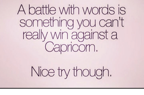 Nice, Words, and You: A battle with words is  something you can't  really win against a  Capricom  Nice try though