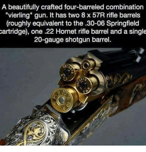 a beautifully crafted four barreled combination vierling gun it has