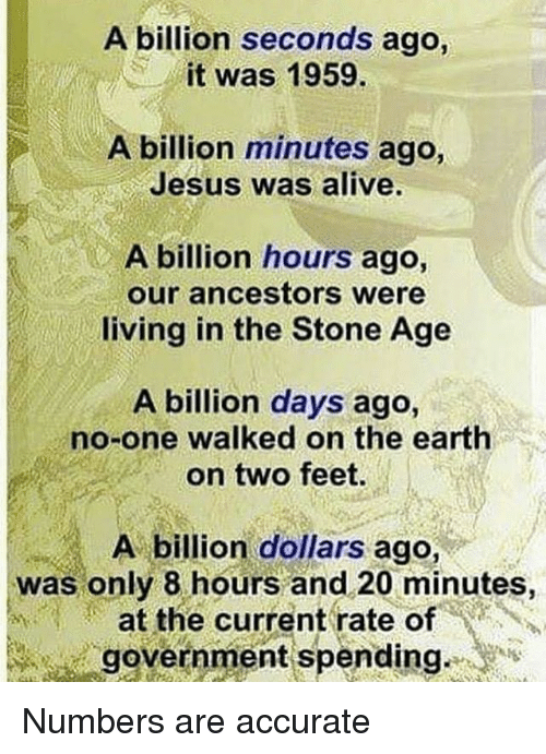 Alive, Jesus, and Memes: A billion seconds ago,  it was 1959.  A billion minutes ago  Jesus was alive.  A billion hours ago,  our ancestors were  living in the Stone Age  A billion days ago,  no-one walked on the earth  on two feet.  A billion dollars ago,  was only 8 hours and 20 minutes,  at the current rate of  government spending Numbers are accurate