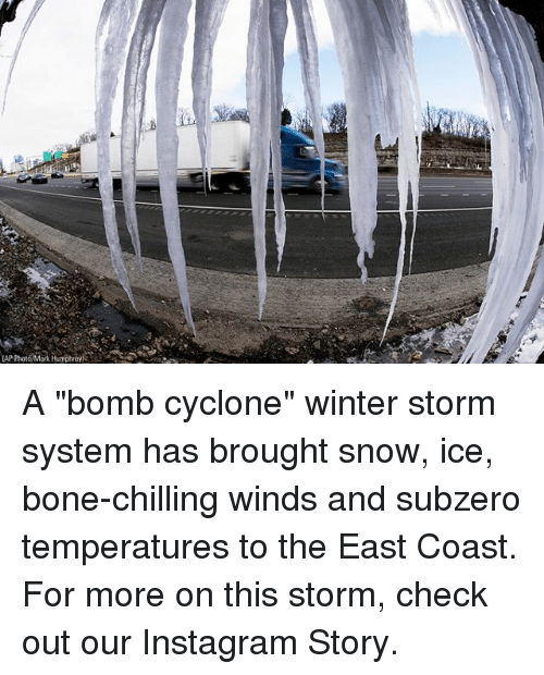 """Instagram, Memes, and Winter: A """"bomb cyclone"""" winter storm system has brought snow, ice, bone-chilling winds and subzero temperatures to the East Coast. For more on this storm, check out our Instagram Story."""