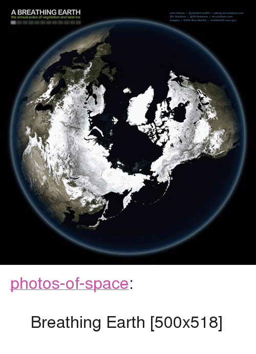 """Tumblr, Blog, and Earth: A BREATHING EARTH  the annual pulse of vegetation and land ice <p><a href=""""https://photos-of-space.tumblr.com/post/165114562147/breathing-earth-500x518"""" class=""""tumblr_blog"""">photos-of-space</a>:</p>  <blockquote><p>Breathing Earth [500x518]</p></blockquote>"""
