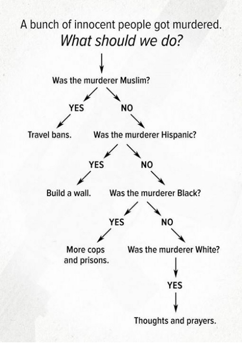 Muslim, Black, and Travel: A bunch of innocent people got murdered.  What should we do?  Was the murderer Muslim?  YES  NO  Travel bans. Ws the murderer Hispanic?  YES  NO  Build a wall Was the murderer Black?  YES  NO  More cops  and prisons.  Was the murderer White?  YES  Thoughts and prayers.