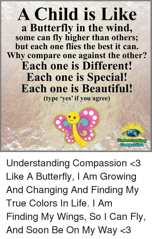 "Beautiful, Life, and Memes: A Child is Like  a Butterfly in the wind,  some can fly higher than others;  but each one flies the best it can.  Why compare one against the other?  Each one is Different!  Each one is Special!  Each one is Beautiful!  (type ""yes' if you agree)  Understanding  Compassion Understanding Compassion <3  Like A Butterfly, I Am Growing And Changing And Finding My True Colors In Life. I Am Finding My Wings, So I Can Fly, And Soon Be On My Way <3"