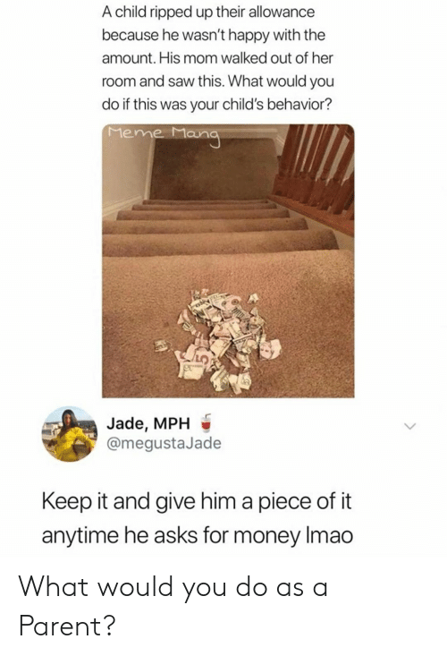 Meme, Money, and Reddit: A child ripped up their allowance  because he wasn't happy with the  amount. His mom walked out of her  room and saw this. What would you  do if this was your child's behavior?  Meme Mana  Jade, MPH  @megustaJade  Keep it and give him a piece of it  anytime he asks for money Imao What would you do as a Parent?