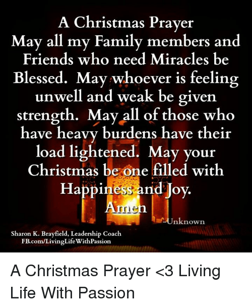 A Christmas Prayer.A Christmas Prayer May All My Familv Members And Friends Who