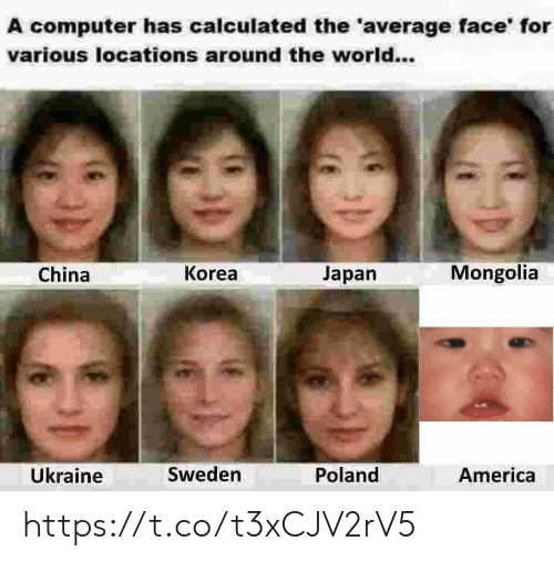 America, China, and Computer: A computer has calculated the 'average face' for  various locations around the world...  Mongolia  Korea  Japan  China  Ükraine  Sweden  Poland  America https://t.co/t3xCJV2rV5