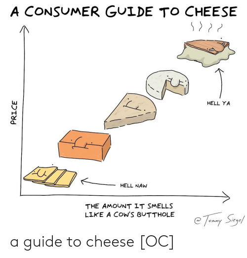 """Hell, Cheese, and Guide: A CONSUMER GULDE TO CHEESE  HELL YA  HELL NAW  THE AMOUNT LT SMELLS  LIKE A COW'S BUTTHOLE  @ 