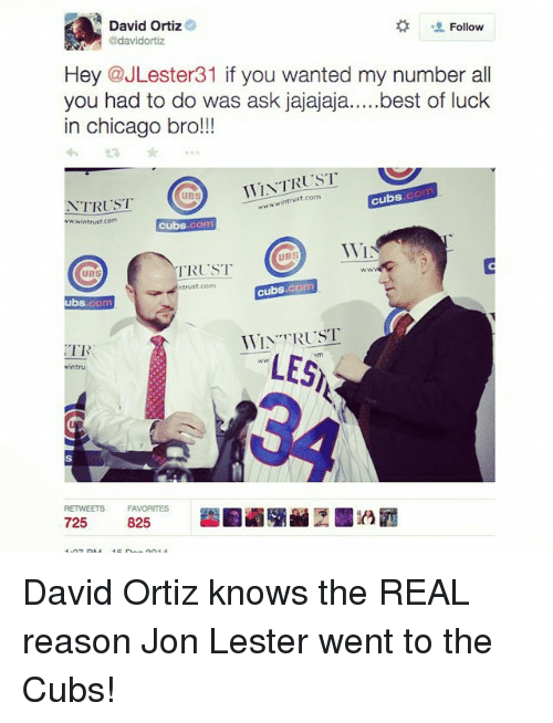 Chicago, Mlb, and Best: A David Ortiz  Follow  @davidortiz  Hey @JLester31 if you wanted my number all  you had to do was ask jajajaja  best of luck  in chicago bro!!!  WTAT RUST  st com  cubs  TRUST  wwwin trust.com  cubs  WI  UBS  TRUST  UBS  cubs, com  trust com  ubs  WIN TRUST  TR  LES  RETWEETS FAVORITES  825  725 David Ortiz knows the REAL reason Jon Lester went to the Cubs!