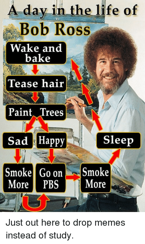 Life, Memes, and Bob Ross: A day in the life of  Bob Ross  Wake and  bake  Tease hair  Paint Trees  Sad Happy  Smoke Go onSmoke  Sleep  More PBS More Just out here to drop memes instead of study.