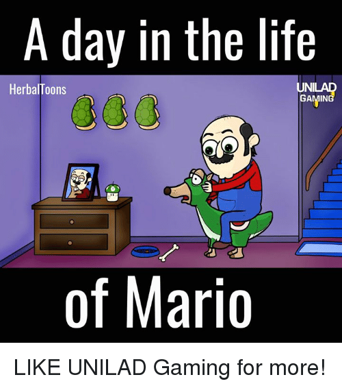 Dank, 🤖, and Uni: A day in the life  UNI  HerbalToons  of Mario LIKE UNILAD Gaming for more!