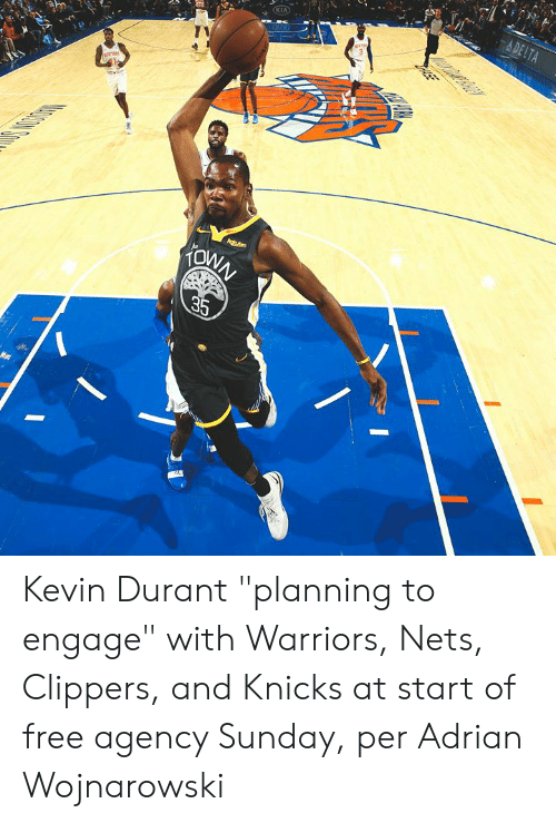 """Kevin Durant, New York Knicks, and Clippers: A DELTA  KIA  Agtens  KONN  35  ASE Kevin Durant """"planning to engage"""" with Warriors, Nets, Clippers, and Knicks at start of free agency Sunday, per Adrian Wojnarowski"""