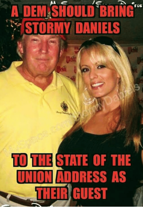 "The State, Stormy Daniels, and Dem: A  DEM.SHOULD  BRING""  STORMY DANIELS  TO THE STATE OF THE  UNIONI ADDRESS AS  THEIR GUEST"