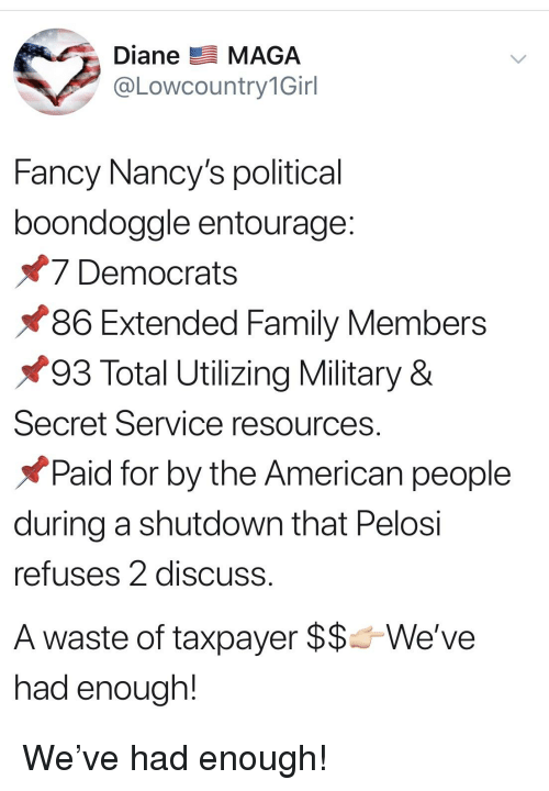Family, American, and Entourage: A. Diane MAGA  @Lowcountry1Girl  Fancy Nancy's political  boondoggle entourage  7 Democrats  86 Extended Family Members  93 Total Utilizing Military &  Secret Service resources  Paid for by the American people  during a shutdown that Pelosi  refuses 2 discuss  A waste of taxpayer $$Weve  had enough!