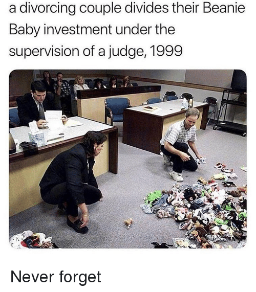 Memes, Never, and Baby: a divorcing couple divides their Beanie  Baby investment under the  supervision of a judge, 1999 Never forget