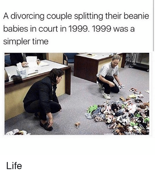 Life, Memes, and Time: A divorcing couple splitting their beanie  babies in court in 1999. 1999 was a  simpler time Life