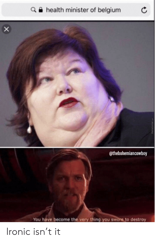 Belgium, Ironic, and Reddit: a e health minister of belgium  @thebohemiancowboy  You have become the very thing you swore to destroy Ironic isn't it
