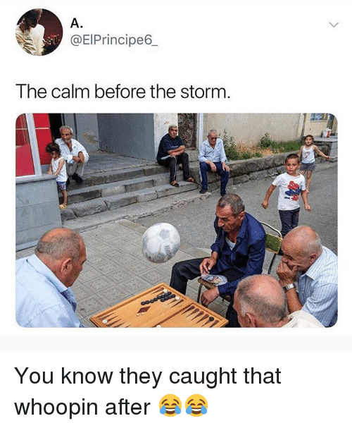 Funny, Storm, and They: A.  @EIPrincipe6  The calm before the storm You know they caught that whoopin after 😂😂