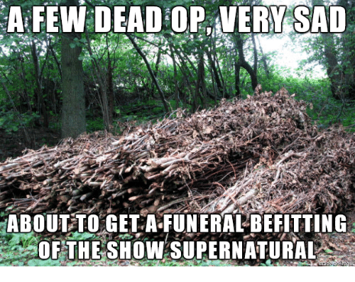 Supernatural, Show, and Dead: A FEW DEAD OP VERYSAD  ABOUT TOGET-A-FUNERA-BEEITTING  OF THE SHOW SUPERNATURAL