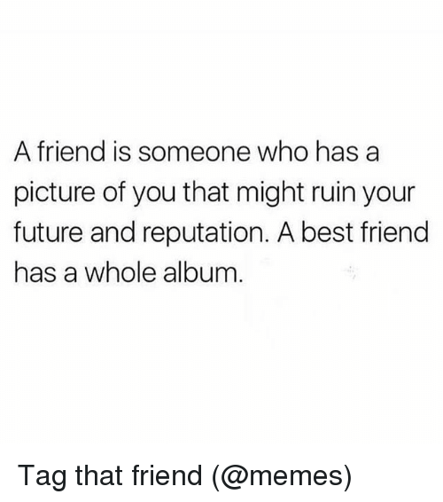 Best Friend, Future, and Memes: A friend is someone who has a  picture of you that might ruin your  future and reputation. A best friend  has a whole album Tag that friend (@memes)