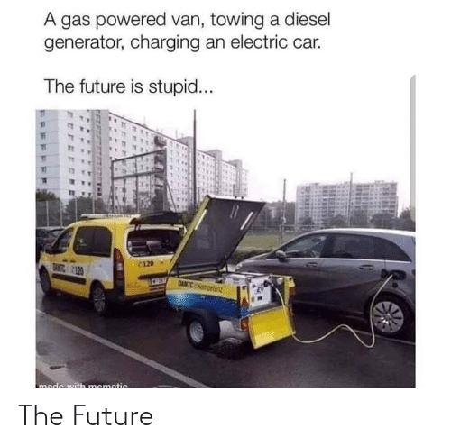 A Gas Powered Van Towing a Diesel Generator Charging an Electric Ca