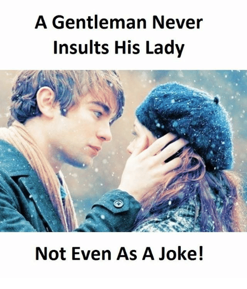 Insults, Never, and Gentleman: A Gentleman Never  Insults His Lady  Not Even As A Joke!