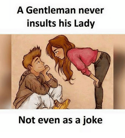 Memes, Insults, and Never: A Gentleman never  insults his Lady  Not even as a joke