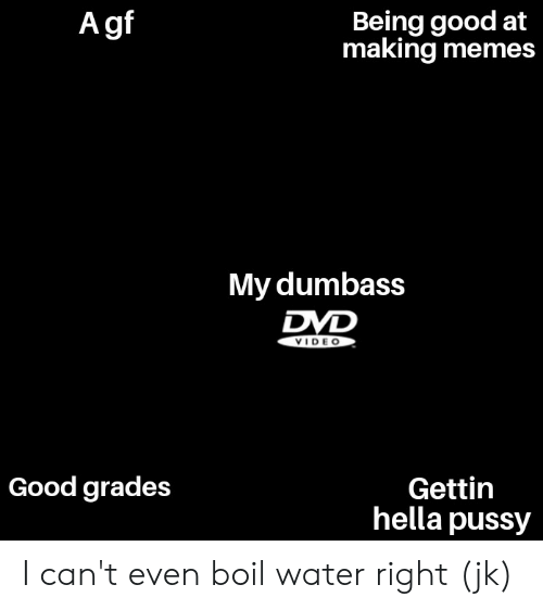 Memes, Pussy, and Good: A gf  Being good at  making memes  My dumbass  DVD  VIDE O  Gettin  hella pussy  Good grades I can't even boil water right (jk)