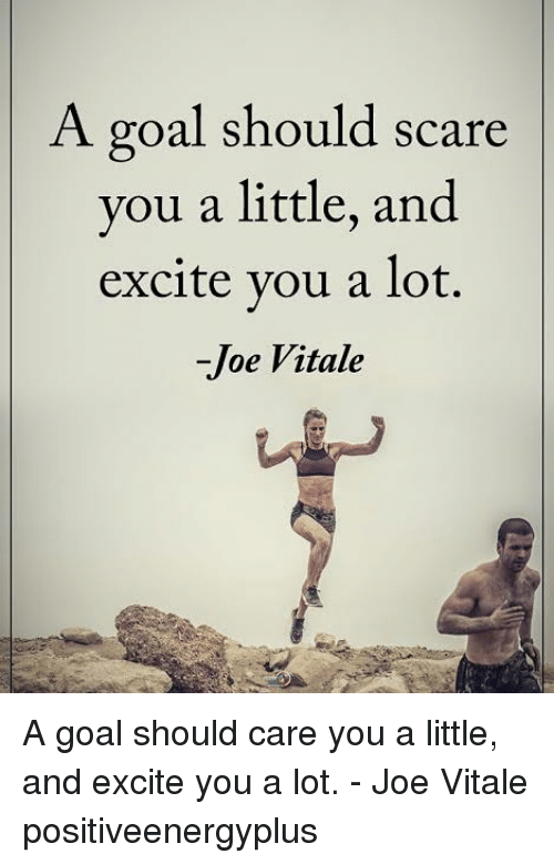 Memes, Scare, and Excite: A goal should scare  you a little, and  excite vou a lot.  -Joe Vitale A goal should care you a little, and excite you a lot. - Joe Vitale positiveenergyplus