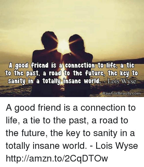 A Good Friend Is At Connection To Life A Tie To The Past A Road To