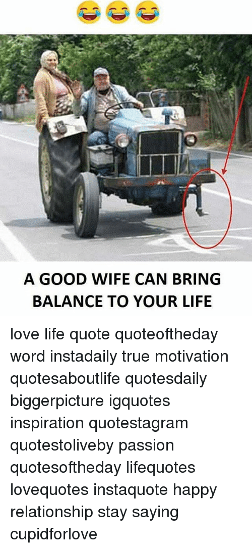 Life, Love, And Memes: A GOOD WIFE CAN BRING BALANCE TO YOUR LIFE