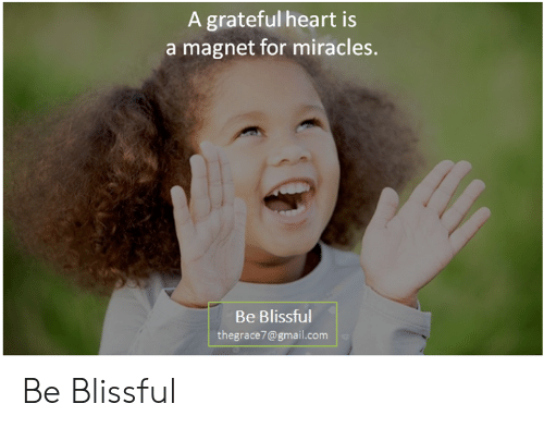 Memes, Gmail, and gmail.com: A grateful heart is  a magnet for miracles.  Be Blissful  thegrace7@gmail.com Be Blissful