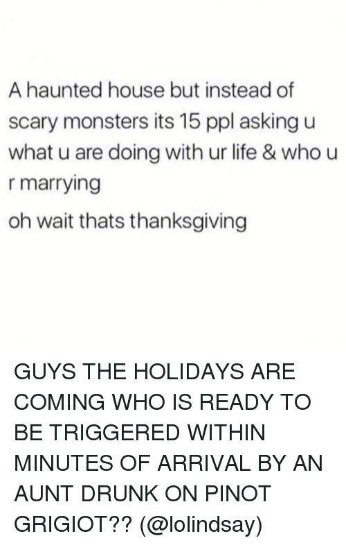 Drunk, Life, and Memes: A haunted house but instead of  scary monsters its 15 ppl asking u  what u are doing with ur life & who u  r marrying  oh wait thats thanksgiving GUYS THE HOLIDAYS ARE COMING WHO IS READY TO BE TRIGGERED WITHIN MINUTES OF ARRIVAL BY AN AUNT DRUNK ON PINOT GRIGIOT?? (@lolindsay)