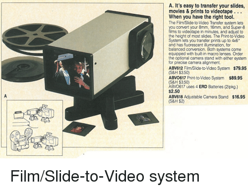 a it's easy to transfer your slides movies & prints to tape ...