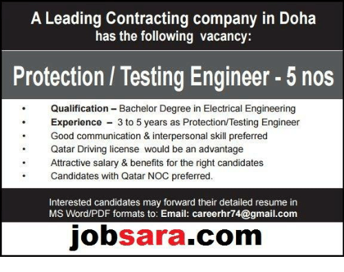 A Leading Contracting Company in Doha Has the Following Vacancy