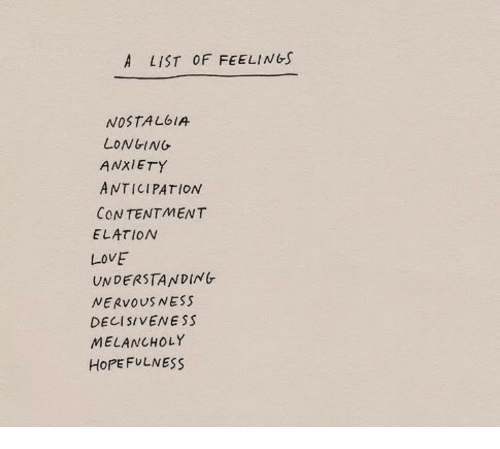 Love, Anxiety, and Contentment: A LIST OF FEELINGS  NOSTALbIA  LONGING  ANXIETY  ANTICIPATION  CONTENTMENT  ELATION  LOVE  UNDERSTANDING  NERVOUSNESS  DE11 SIVENESS  MELANCHOLY  HoPEFULNESS