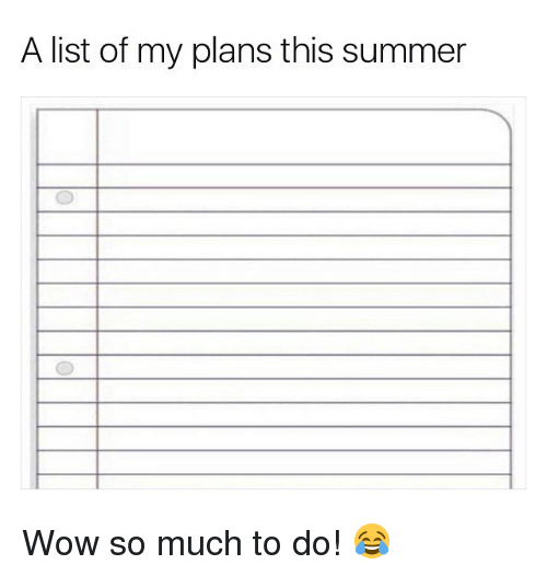 Memes, Wow, and Summer: A list of my plans this summer Wow so much to do! 😂