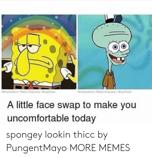 Dank, Memes, and Target: A little face swap to make you  uncomfortable today spongey lookin thicc by PungentMayo MORE MEMES