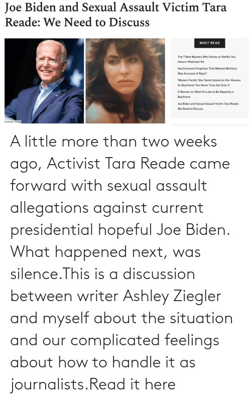 Joe Biden, SoundCloud, and Target: A little more than two weeks ago, Activist Tara Reade came forward with sexual assault allegations against current presidential hopeful Joe Biden. What happened next, was silence.This is a discussion between writer Ashley Ziegler and myself about the situation and our complicated feelings about how to handle it as journalists.Read it here