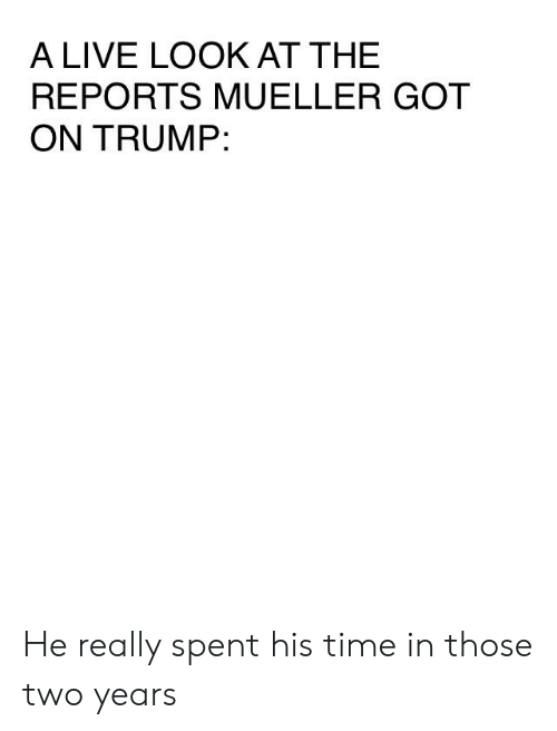 Live, Time, and Trump: A LIVE LOOK AT THE  REPORTS MUELLER GOT  ON TRUMP: He really spent his time in those two years