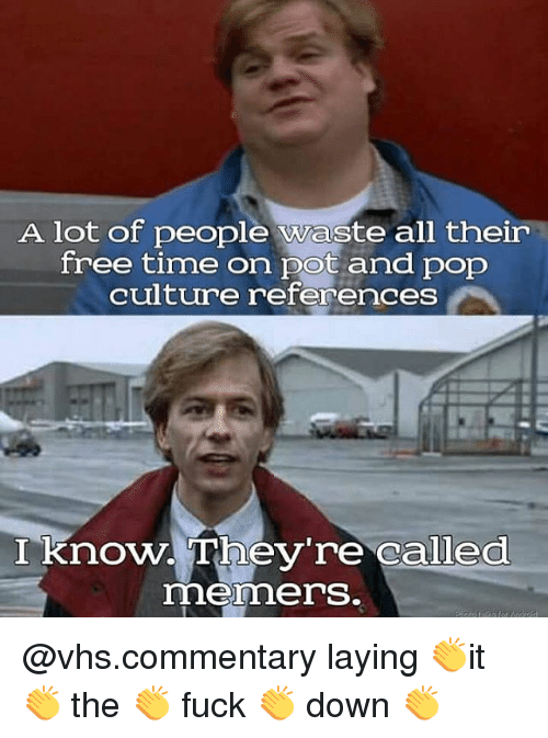 Memes, Pop, and Free: A lot of people waste all their  free time on pot and pop  culture references  I know. They're called  memers. @vhs.commentary laying 👏it 👏 the 👏 fuck 👏 down 👏