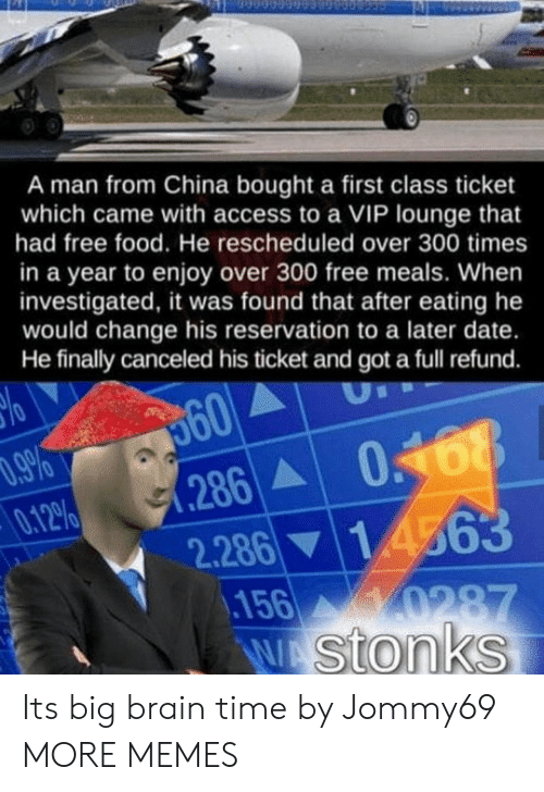 Dank, Food, and Memes: A man from China bought a first class ticket  which came with access to a VIP lounge that  had free food. He rescheduled over 300 times  in a year to enjoy over 300 free meals. When  investigated, it was found that after eating he  would change his reservation to a later date.  He finally canceled his ticket and got a full refund.  360  .286 0168  2.286 14563  156 0287  W stonks  .9%  0.12%  70 Its big brain time by Jommy69 MORE MEMES