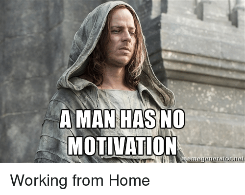 Work, Home, and Advice Animals: A MAN HAS NO  MOTIVATION  memegeneratornet Working from Home