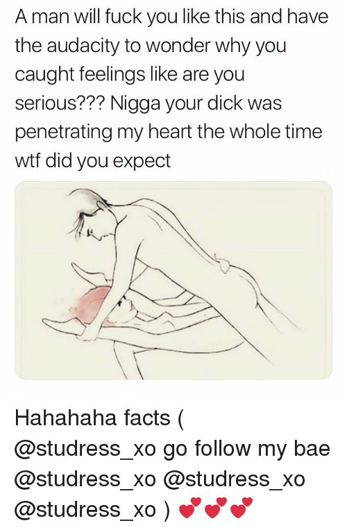 Bae, Facts, and Fuck You: A man will fuck you like this and have  the audacity to wonder why you  caught feelings like are you  serious??? Nigga your dick was  penetrating my heart the whole time  wtf did you expect  lt^- Hahahaha facts ( @studress_xo go follow my bae @studress_xo @studress_xo @studress_xo ) 💕💕💕