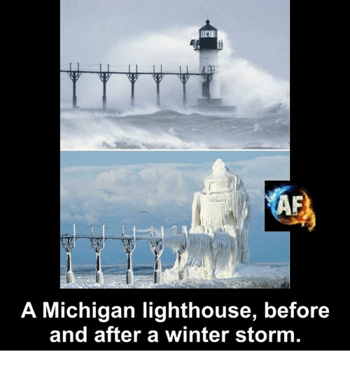 Memes, Winter, and Michigan: A Michigan lighthouse, before  and after a winter storm