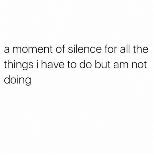 Memes, Silence, and All The: a moment of silence for all the  things i have to do but am not  doing
