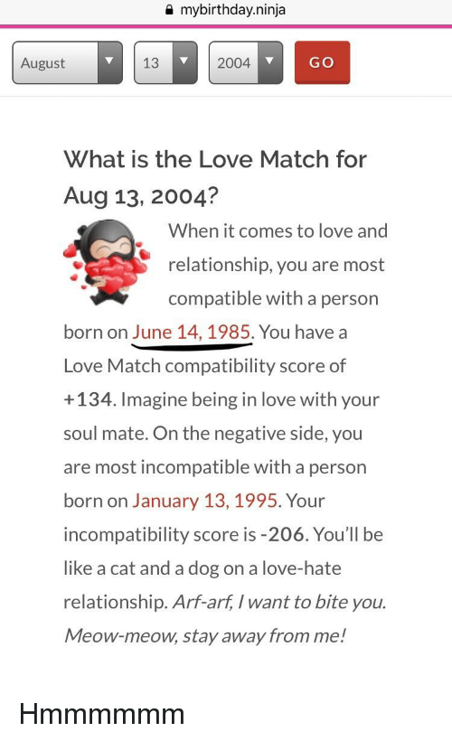 Love match compatibility by birthday