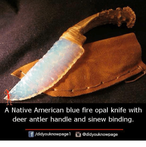 A Native American Blue Fire Opal Knife With Deer Antler