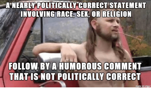 Sex, Race, and Religion: A NEARLY POLITICALLY CORRECTSTATEMENT  INVOLVING RACE, SEX, OR RELIGION  FOLLOW BY A HUMOROUS COMMENT  THAT IS NOT POLITICALLY CORRECT  made on ingur